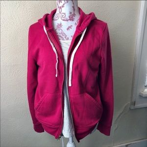 Old Navy Zip Up Hoodie with Drawstring M Cranberry